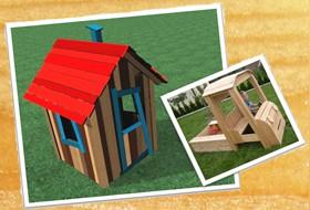 Otroška hišica in peskovnik v obliki avtomobila